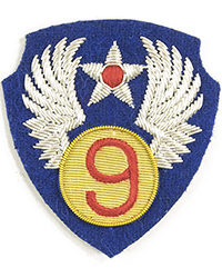 "9th Air Force (""Theatre-Made"" Bullion)sleeve patch"
