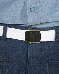 Trouser Belt w/ buckle, White